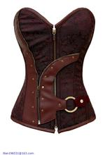 new arrival 2015 sexy women chest binder Brown Brocade Steampunk Corset LC5313 on sale Free shipping