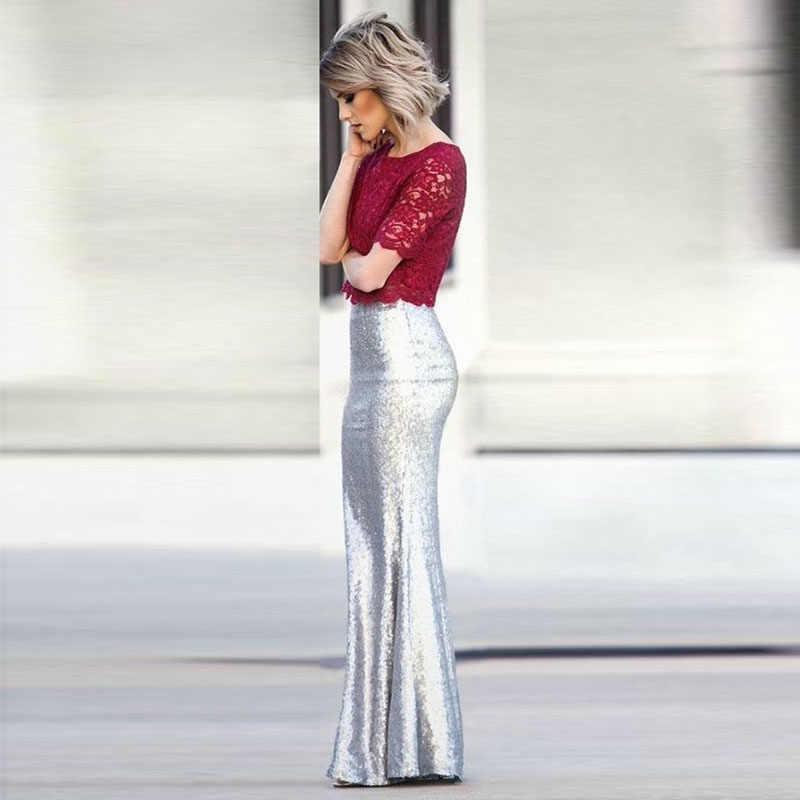 e8820d7a92 Glitter Silver Sequin Maxi Skirt for Women High Waist Mermaid Sequins Long  Skirts Custom Made Jupe femme Faldas Saia