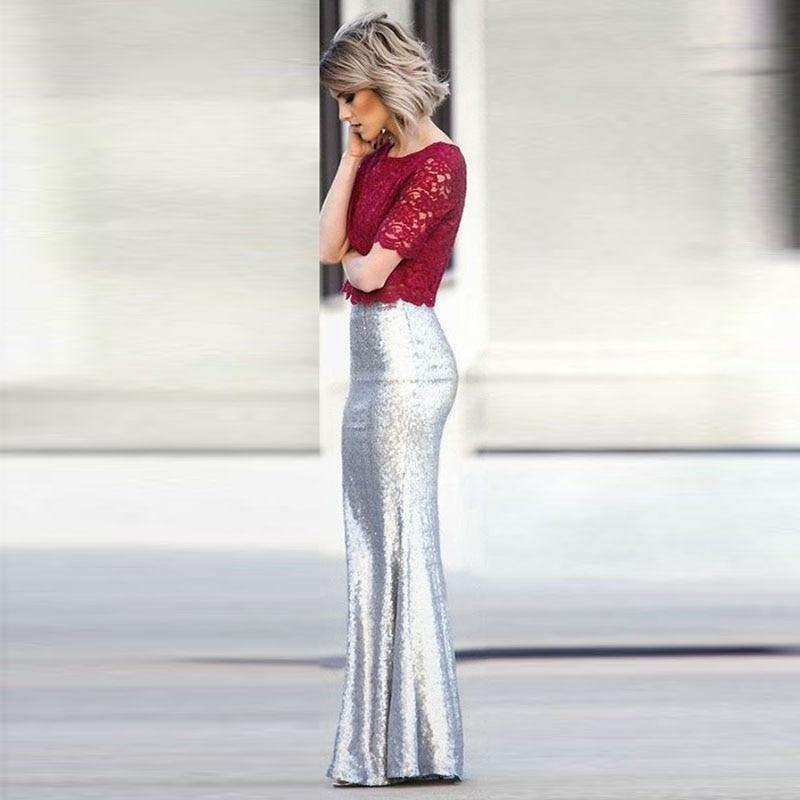 Encargo Sequin Cintura Jupe Silver Lentejuelas Falda Largo Femme Maxi De Alta Glitter Mujeres Las Faldas Por Sirena Para Plata Saia xfBwaqz