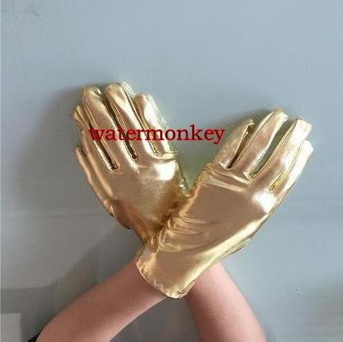 Watermonkey unisex  Metallic Shiny short Gloves Cosplay Gloves Halloween Cosplay Accessories