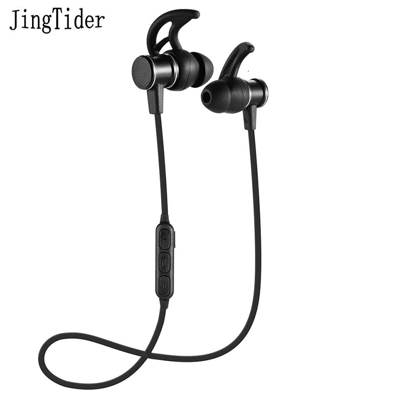 JingTider Bluetooth Wireless Earphones Stereo In-Ear Sport Earphone with Mic Magnet Earbuds Super Bass For iPhone Samsung Xiaomi super bass earphone hifi stereo sound 3 5mm earbuds in ear earphones with mic sport running headset for phone