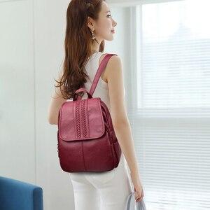 Image 5 - 2019 여성 가죽 배낭 여자를위한 고품질 여행 어깨 가방 여성 배낭 빈티지 bagpack cusual daypack rucksack