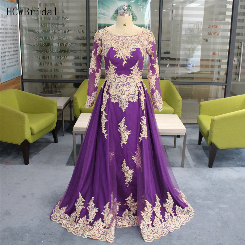 Custom Made Purple Long Sleeve Arabic Evening Dress Gold Beaded Appliques Tulle A Line Formal Occasion Women Dresses Cheap