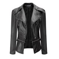 New Autumn Winter Women PU Leather Jacket Fashion Motorcycle Coat Female Long Sleeve Short Basic Coat