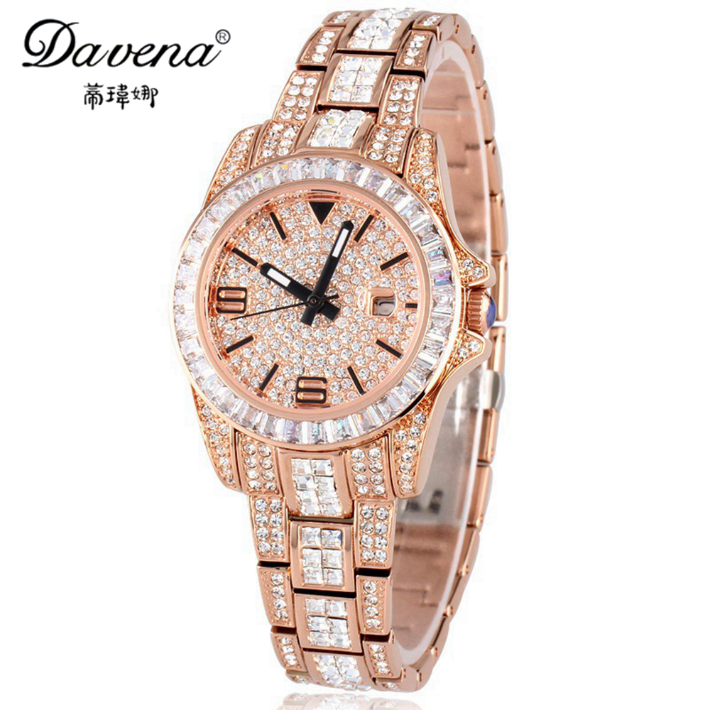 New Bling Crystal Women Dress Rhinestone Watches Fashion Casual Japan Quartz Watch Hot Sale Luxury Brand Davena 60313 Clock Gift hot sale geneva alloy gold plated bright crystal casual quartz watch fashion brand luxury women rhinestone watches relojes clock