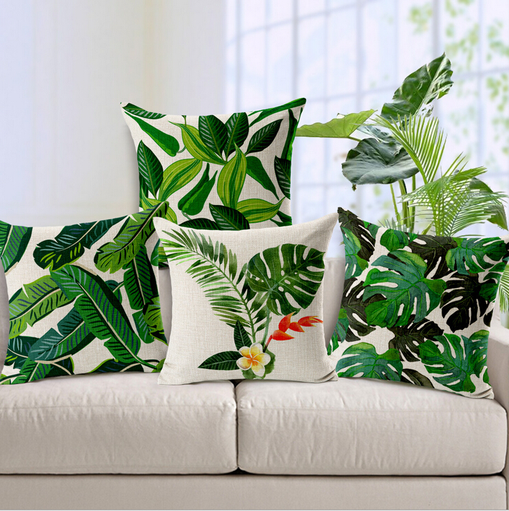 Modern Botanical Pillow : jungle plant cushion cover monstera cojines decorativos modern green throw pillow case leaf ...