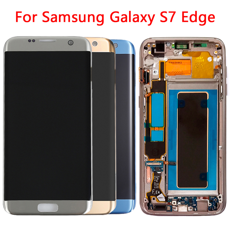 SUPER AMOLED G935F LCD For Samsung S7 Edge LCD Display Screen Frame Replacement Assembly For Samsung G935 G935F LCD Display