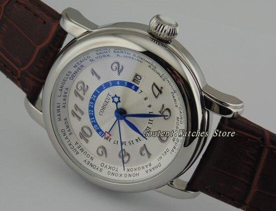 43mm corgeut 날짜 실버 세련된 케이스 화이트 다이얼 자동 캐주얼 남성용 시계-에서기계식 시계부터 시계 의  그룹 1