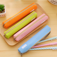 1PCS Pencil-Case Cute Creative Wave Point Pencil Canvas Pen Stationery Cases for Girls School Supplie BD023F