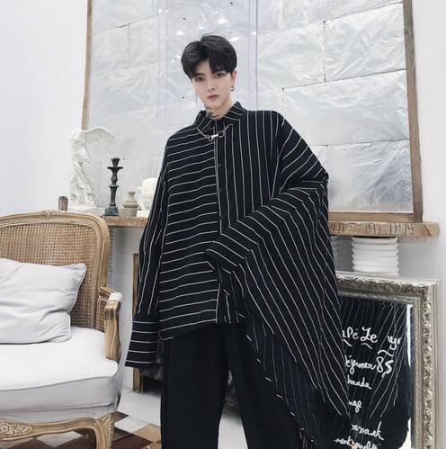 Men Oversize Bat Long Sleeve Big Cuffs Striped Casual Shirt Male Streetwear Hip Hop Punk Gothic Loose Shirt Stage Show Clothing