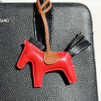 Handmade Lambskin Genuine Real Leather Mini Horse Keychain Animal Key Chain Women Bag Pendant Charm Accessories
