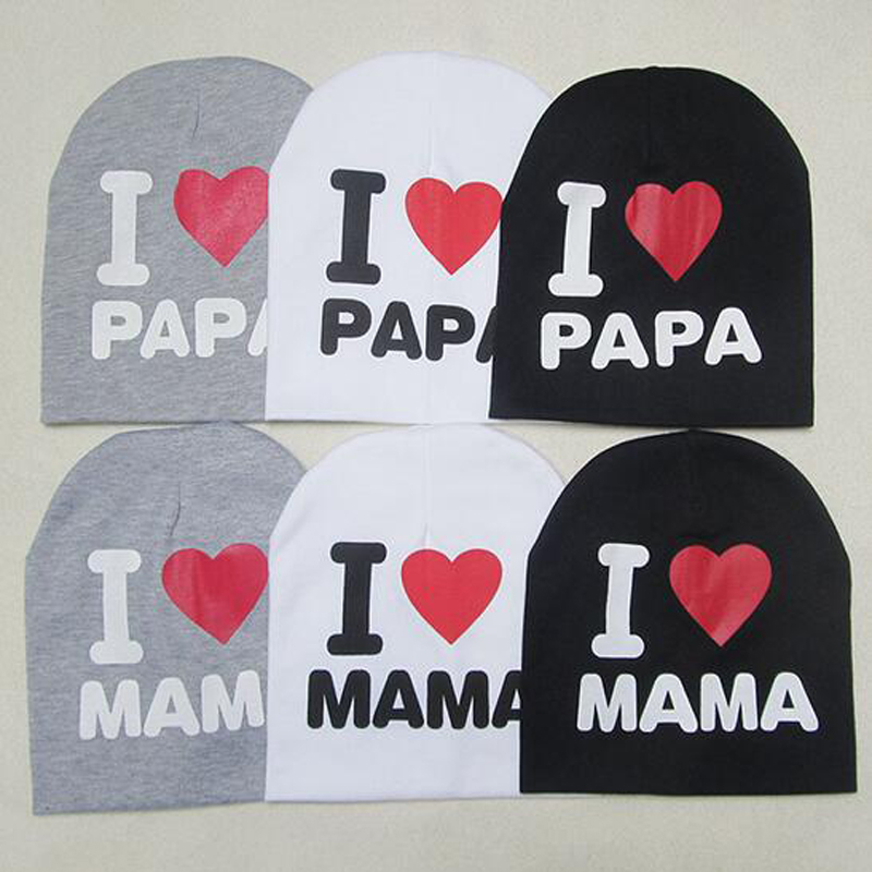 Nuevo 0-2 años Iove MOM Love DAD Letter Cotton Baby Hat Cap Girl Boy Candy Color Lovely kids Baby Girls Boys Infantil Wear XL42