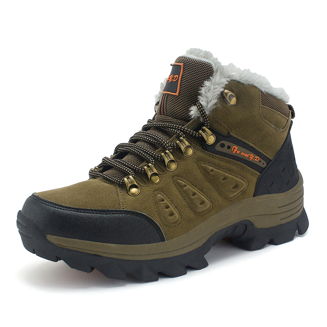 Winter Hiking Shoes Women Men Big Size 36-47 Waterproof Hiking Boots Plush  Warm Outdoor e4bb31dca