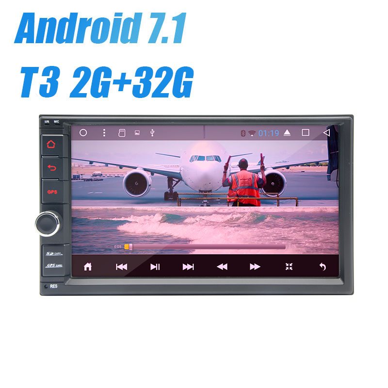 Android7.1 Car Radio 7 Inch 2din NoDVD Capacitive Touchscreen High Resolution 1024x600 GPS Navigation Bluetooth USB SD Player 4g