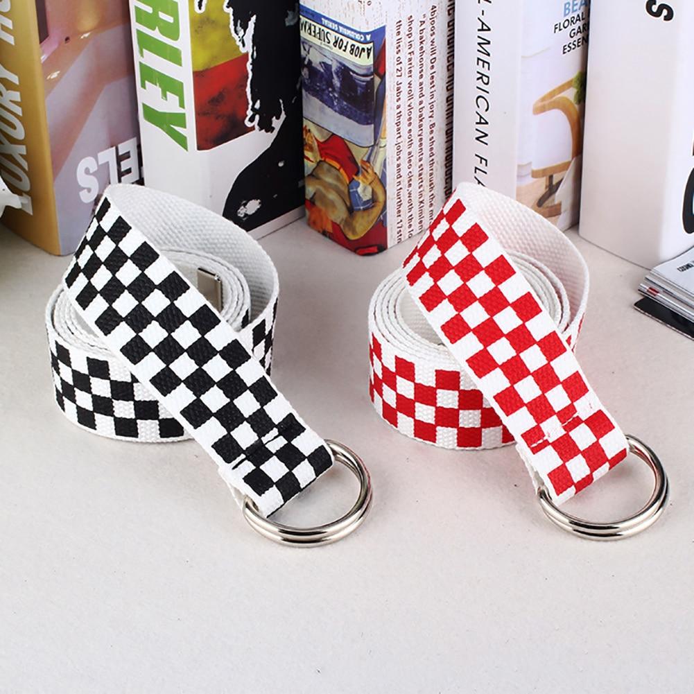 New Fashion Chic Waist Strap Casual Men Women Checkerboard Canvas D Ring Belt Plaid Waist Strap Waistband