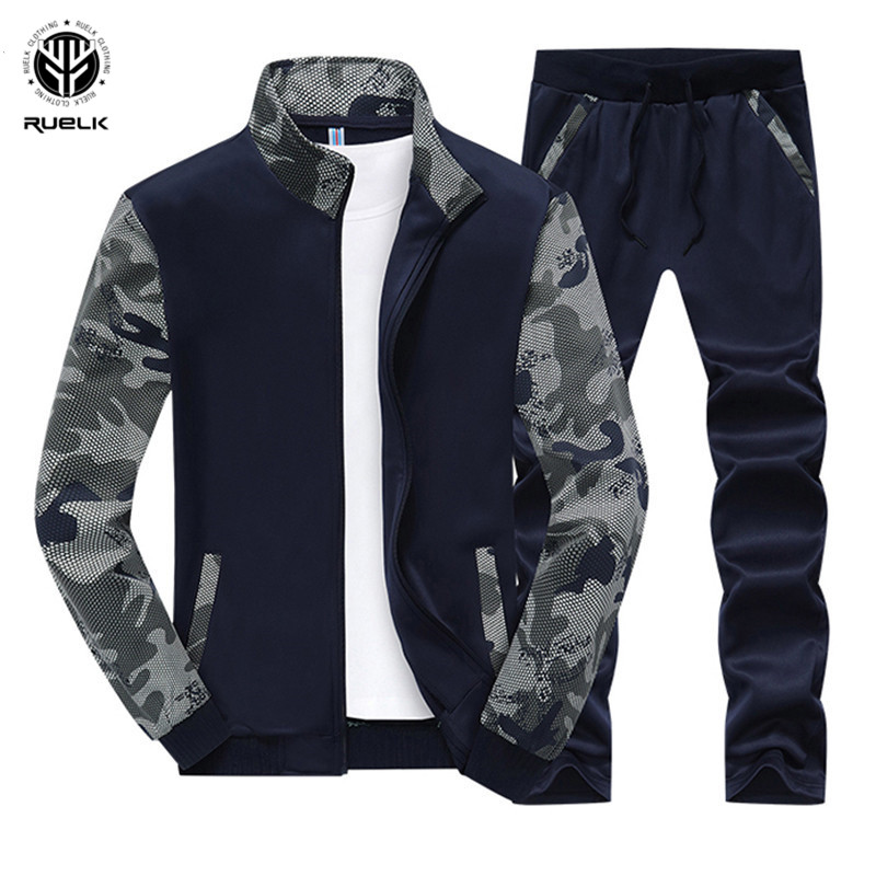 RUELK 2019 Fashion New Arrival Men's Sporting Suit Spring&Autumn Brand Casual Hoodies Two Pieces Sets Sportwear Sweatshirts Set