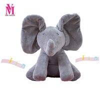 Peek A Boo Elephant Stuffed Animals Plush Elephant Doll Play Music Elephant Educational Anti Stress Electric