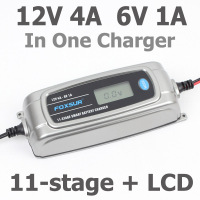 FOXSUR 12V 4A 6V 1A 11 stage Smart Battery Charger, 6V 12V EFB GEL AGM WET Car Battery Charger with LCD display & Desulfator