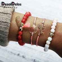 4 pieces/set New european-style pineapple shell bracelet LOVE bracelet fashionable temperament for women gift jewelry