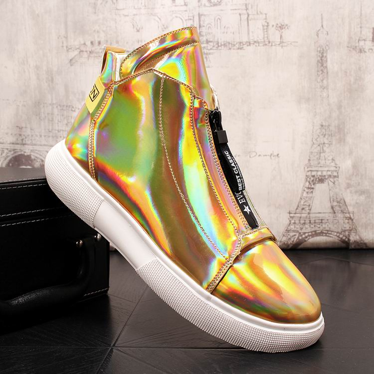 ERRFC Luxury Men's Gold Leisure Shoes Fashion Designer High Top Zip Man Casual Comfort Shoes For Show White Vogue Party Shoes 43 5