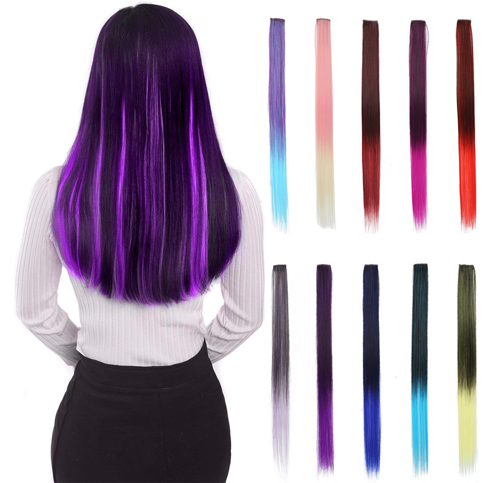 JINKAILI 1 Clip in Hair Extensions Fake Hair Long Straight High Temperature Synthetic 1 Clip in Hairstyle for Girl ...