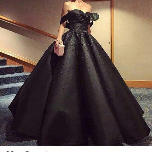 New Trendy Glitter Beaded Black Satin Prom Dress Off Shoulder Short ...