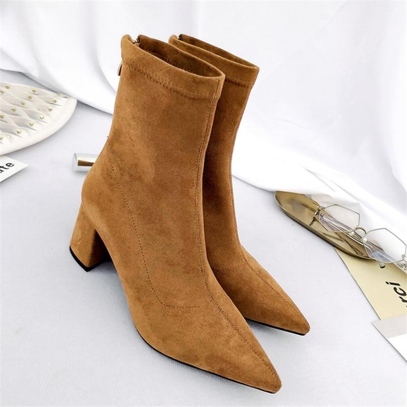 Msstor موجزة الأصفر الجوارب أحذية فلوك الكعوب روما عارضة مربع زائد الحجم 43 مضخات أحذية للنساء أشار تو الشتاء الكاحل الأحذية-في أحذية الكاحل من أحذية على  مجموعة 3