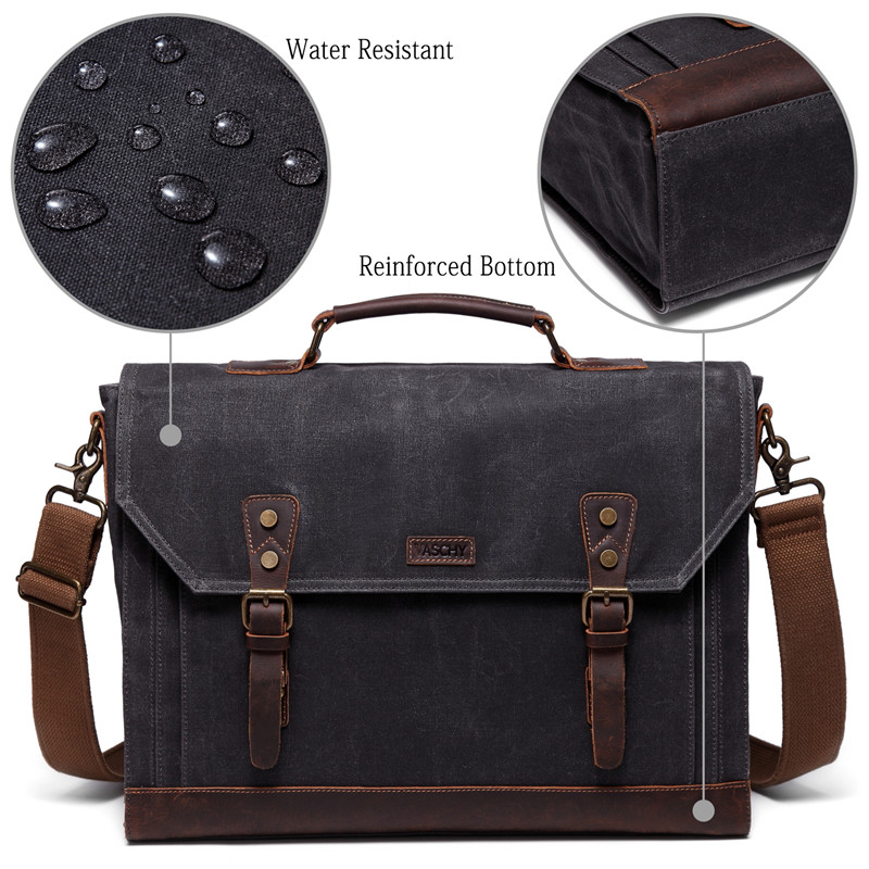 VASCHY Briefcase for Men Vintage Canvas Messenger Bag Laptop Satchel Shoulder Bag Bookbag with Detachable Strap Briefcase Men