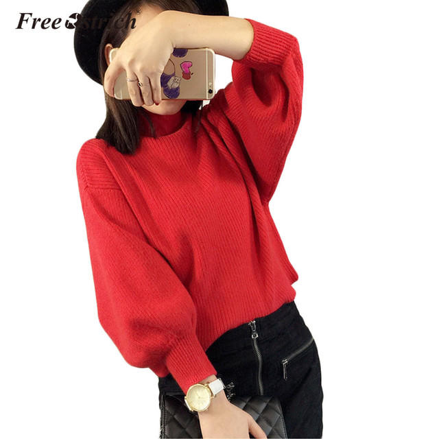 Free Ostrich Winter Sweater Women 2018 Fashion Turtleneck Batwing Sleeve Pullovers Loose Knitted Sweaters Female Jumper Tops D30