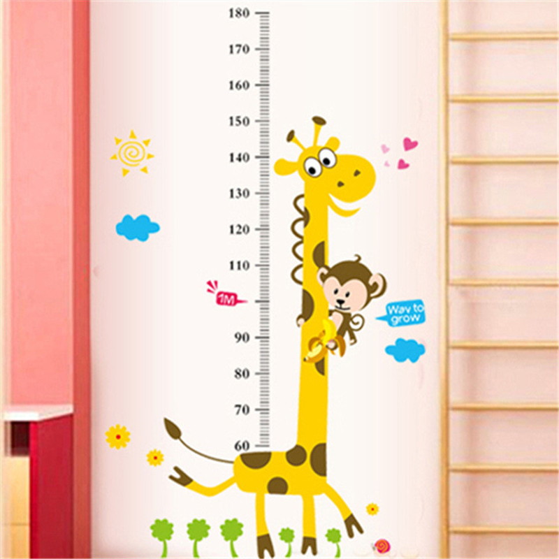 2pc height chart wall stickers for kids rooms home decor cartoon