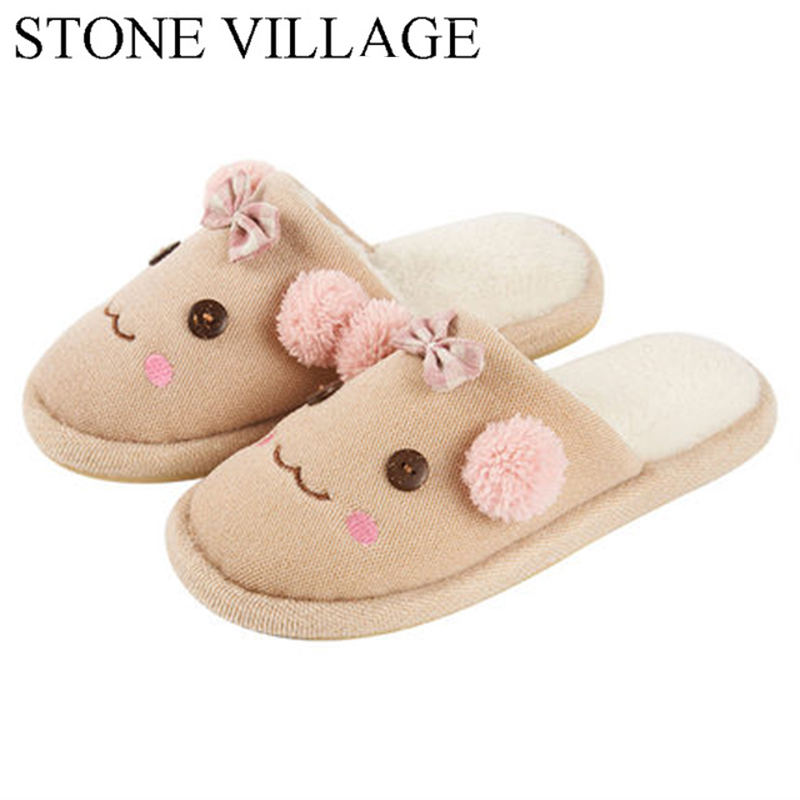 New 2017 Winter Cotton Slippers Women'S Indoor Anti-Skid Thick Bottom Lovely Home Warm Waterproof Plush Slippers Plus Size 35-45 2016 winter new fashion cotton slippers home indoor soft bottom plush slipper for lovers free shipping