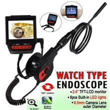 """2.4 """"TFT LCD Boroscopio Endoscopio 8.5mm lente 6 LED Coche de Los Vehículos Indurstrial $ number pies de Tubo Impermeable de La Serpiente Cámara de Inspección Freeship"""