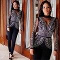 2016 новых прибытие sexy тонкий bodycon бинты длинные комбинезон женщин мода набор кружева лоскутная Горячие кирпичи клуб наряды