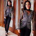 2016 new arrivel sexy slim bodycon bandage long rompers womens set fashion lace patchwork Hot bricks club party wear