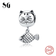 2017 New Arrival 925 Sterling Silver Curious Cat Animal Charm Fit Pandora Bracelet Necklace Authentic Equal Jewelry