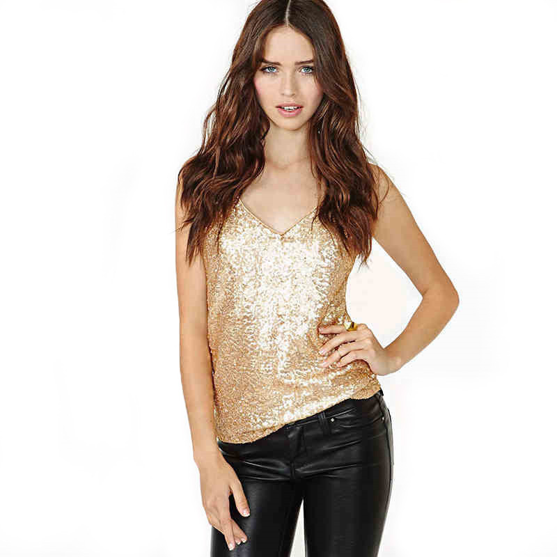 2019 Summer Pop New Fashion Women Sexy Sling Trim V Collar Gold Sequins Small Vest Pink Green Gold Solid Casual Camis Tank Top Price $23.89