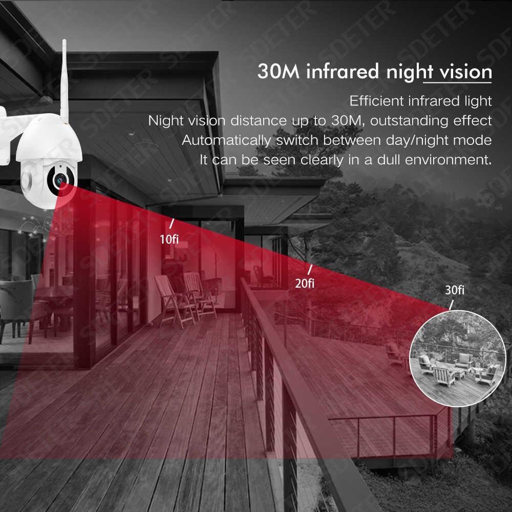 Sdeter 1080 P Ip Kamera Outdoor PTZ Speed Dome Kamera Wifi Kamera Keamanan CCTV Pan Tilt Zoom Dua Arah Audio kamera Eksterior P2P