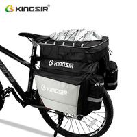 Bicycle Trunk Bags Cycling Double Side Rear Tail Seat Pannier Pack Bike Luggage Container Bag with Fixed Belt+A Rainproof Cover