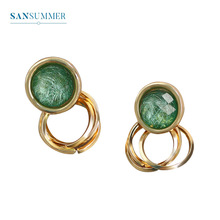 Sansummer 2019 New Style Hot Fashion Round Green Rhinestone Bohemia Party Drop Earrings For Women Ethnic Jewelry 5148