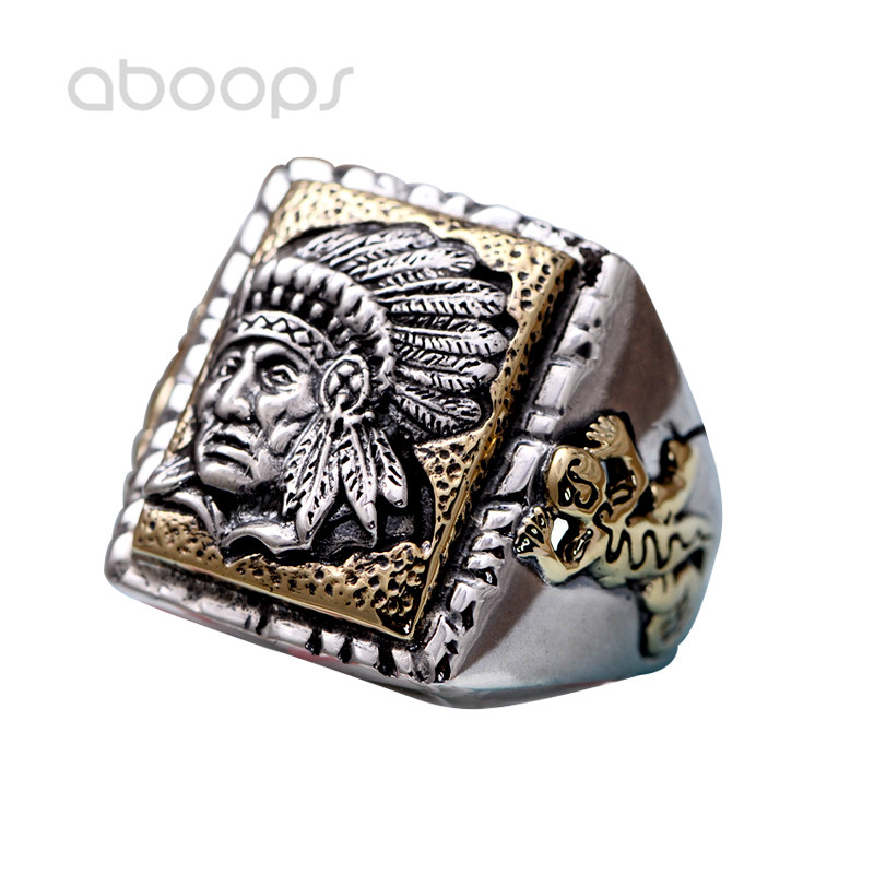 Vintage Two Tone 925 Sterling Silver American Indian Chief Ring Jewelry for Men Adjustable Free Shipping vercret turquoise 925 silver native american indian chief head ring for women vintage fine jewelry ring