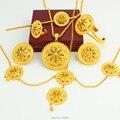 Chegada nova Etíope Tamanho Grande conjuntos de Jóias/Banhado A Ouro Moda Romântico Jóias Nupcial Do Casamento Africano Conjuntos para As Mulheres