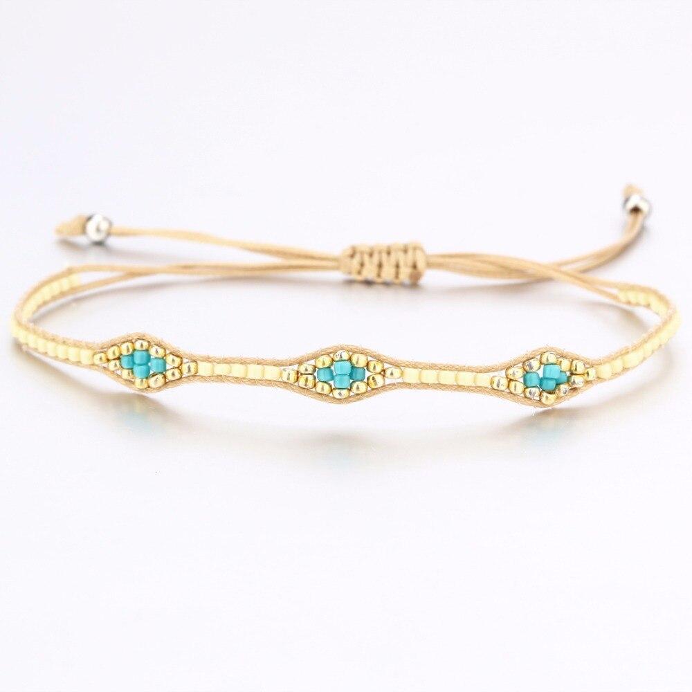 Multi Color Bohemian Style Handmade Woven Stone Friendship Bracelets Macrame Wristband Anklet Bracelet Friendship Gift