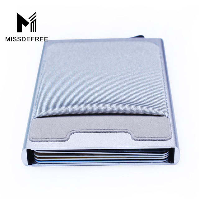 Aluminum Wallet With Elasticity Back Pocket ID Card Holder Rfid Blocking