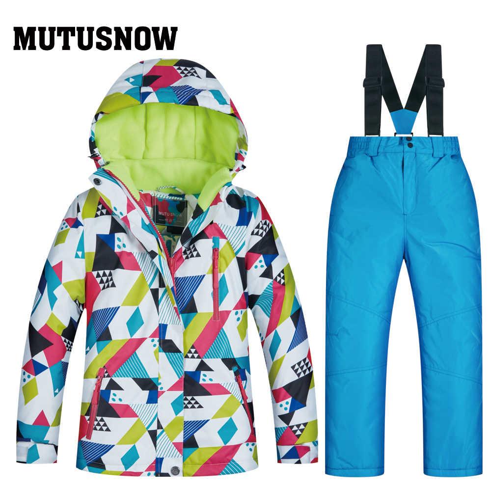 Более дешевый лыжный костюм для девочек, одежда для занятий сноубордингом, водонепроницаемые ветрозащитные зимние костюмы, куртки + нагрудники брюки, лыжный костюм, хит продаж