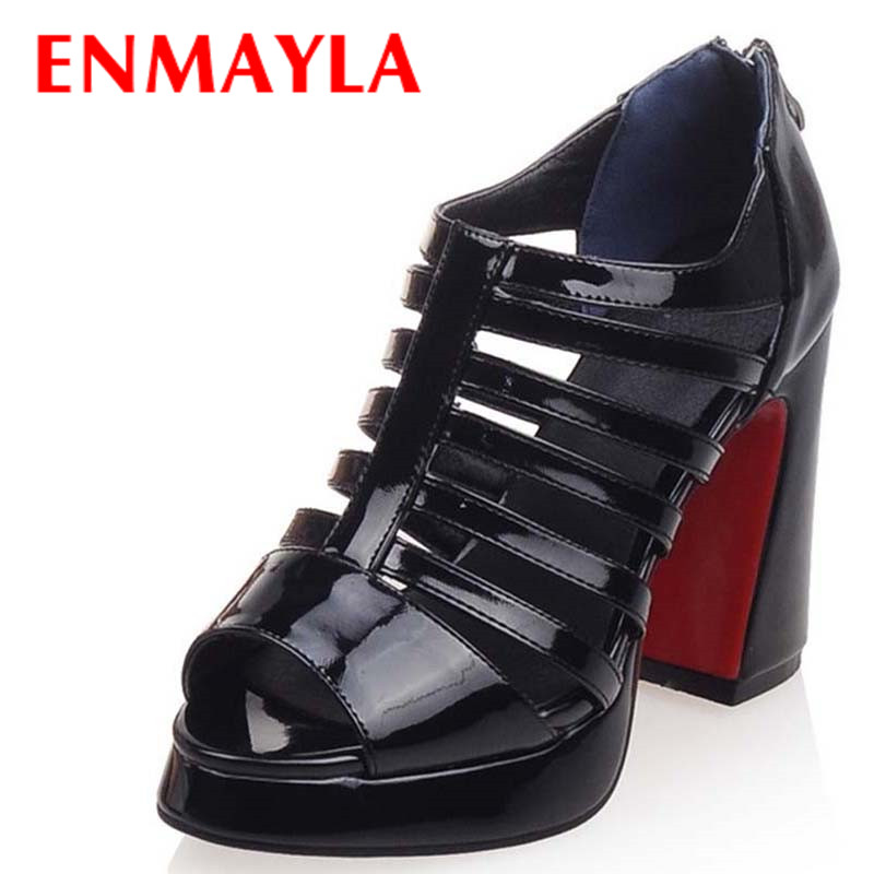 ENMAYLA New Women Summer Shoes Gladiator Sandals High Heels Sexy Rome Shoes Platform Sandals Open Toe Ankle Boots Size 34-40 brand new stiletto high heels sandals gladiator women sexy platform rome style shoes summer ladies open toe buckle pumps fashion