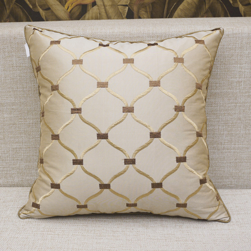 home decorative embroidery plaid luxury seat pillow cover cases for living room size xiuhua