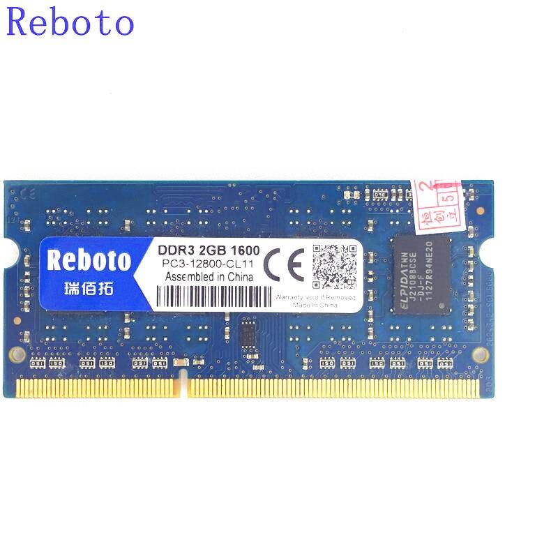 Reboto DDR3 2GB/4GB/8GB 2RX8/1Rx8 PC3-12800s PC3-8500 DDR3 1600MHz 1333mhz 1066mhz Laptop Memory RAM