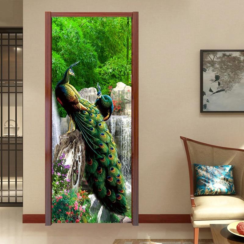 Chinese Style 3D Green Forest Peacock Landscape Door Sticker Living Room Home Decor Wallpaper 3D Door Mural PVC Waterproof Decor