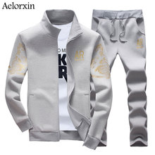 Aelorxin 2017 Spring Men's Sets Printing Sweater+trousers Fashion Gold Foil Printing Sportswear