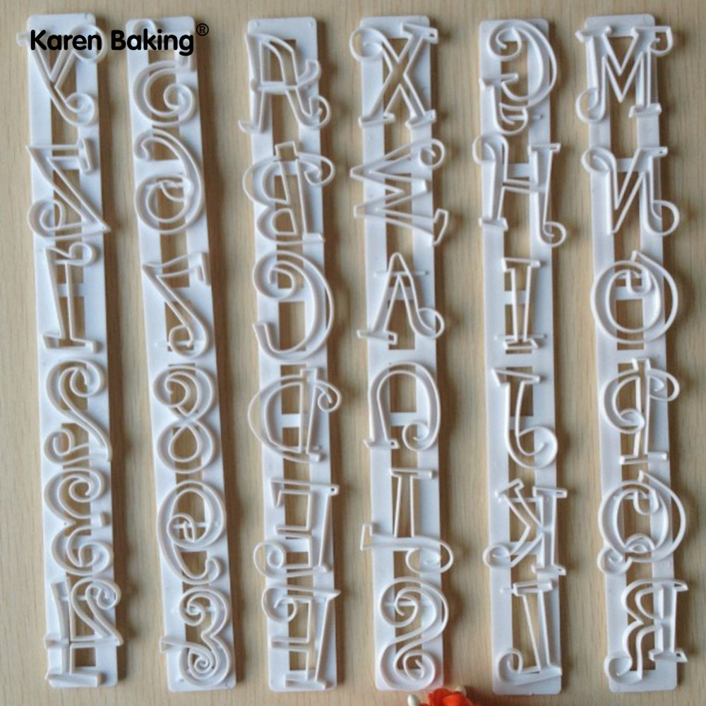 6PCS Set Letters & Numbers Shape Cake Embossing Cutter Decorating Stencil -A064